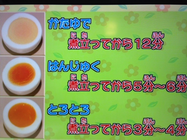 【6/27(金)放送】お箸の使い方・ゆで卵の固さ(ためしてクックルン)