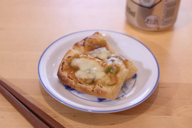 トースターで簡単!油揚げのネギ味噌チーズ焼き