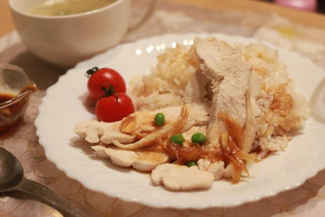 シンガポール風チキンライスを鶏胸肉で作ってみた!